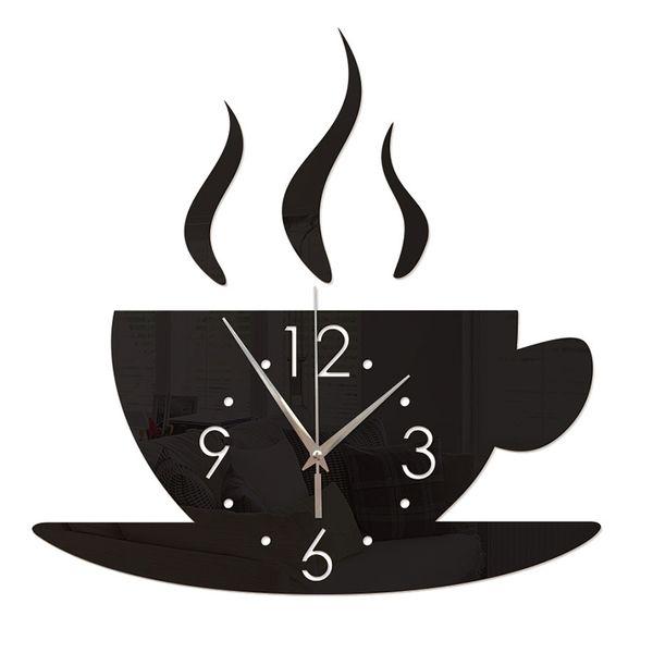 3D DIY Mirror Wall Clock Home Decor Creative Modern Design Acrylic Wall Clock Coffee Cup Living Room Decorative Time for Coffee