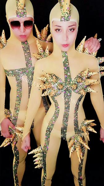 DJ Songbird Multicolor Rhinestones Stretch Mesh Jumpsuit Nightclub Cosplay Dance DS Show Outfit Bodysuit Women Or Men Singer Unique Clothes