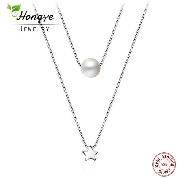 Hongye Yeni Moda Doğal İnci Takı Kadınlar Için Iki Katmanlar Yıldız Gerdanlık Kolye 925 Ayar Gümüş Zincir Kolye Kolye