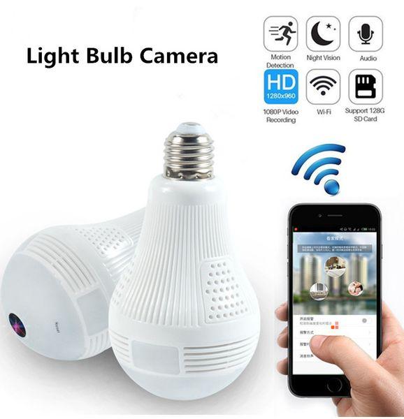 Bombilla Cámaras de seguridad Wifi Panorámica FishEye Inalámbrico 360 grados de visión nocturna Mini CCTV Vigilancia Sistema de seguridad para el hogar Cámara IP