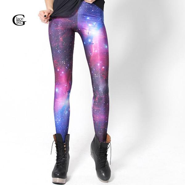 Lace Girl Women Leggings 2016 HOT! SEXY! Women Galaxy Purple Leggings Space Printed Pants Milk Sexy Plus Size