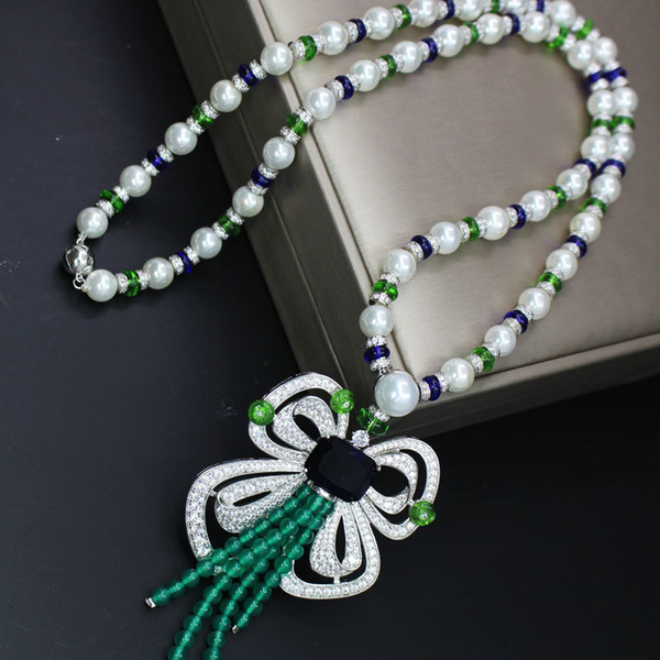 Brand Designer Wedding Jewelry Women Fashion Sweater Chain Long Pearls Bow Necklaces With Pendant Tassel Charms Jewellry For Wedding Party
