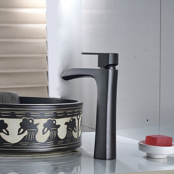 Wholesale And Retail Bathroom Black Waterfall Basin Sink Faucet Single Handle Hot Cold Water Bronze Mixer Tap