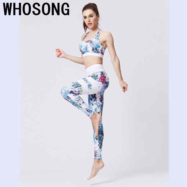 Floral Print Fitness Women Yoga Set Sport Bra and Legging Pants 2 Piece Women Suits Sexy Elastic Push Up Slim Yoga Sportswear