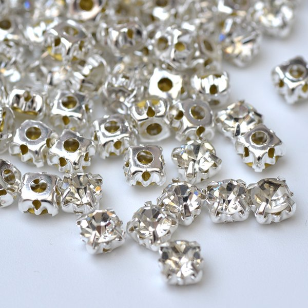 JUNAO 6 7 8 10 mm Sew On Clear Claw Crystals Glass Rhinestones Bridal Beads Applique Sewing Flatback Crystal Stones For Clothes