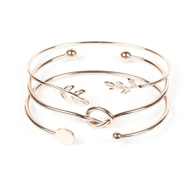 Three Layers Leaf Metal Statement Bracelets for Women Gold Knotted Round Open Bangles Men joyas de acero inoxidable para mujer