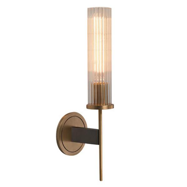 Retro Cobre Lámpara de pared Lámpara de pared Pantalla de cristal Luces de pared TV Telón de fondo Bombilla Edison Lámpara de pared Nordic apliques