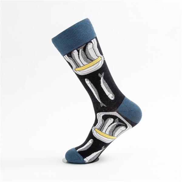 Fancy Men Long Half Hipster Socks Zebra Print Sardine Shrimp Animal Skull Patterned Streetwear Socks 5 pairs Tough Odd Future