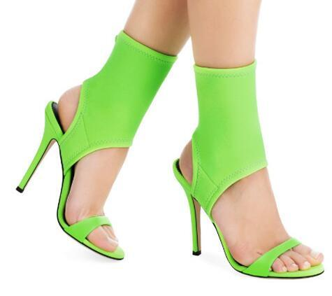 Summer Fluorescent Green High Heels Sandals Rome Style Stretch Fabric Women Pumps Slingback Stiletto Heels Women Shoes