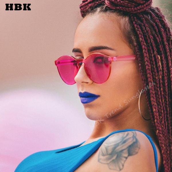 HBK candy color one piece lens sunglasses women transparent plastic glasses men sunglasses clear brand designer oculos de sol