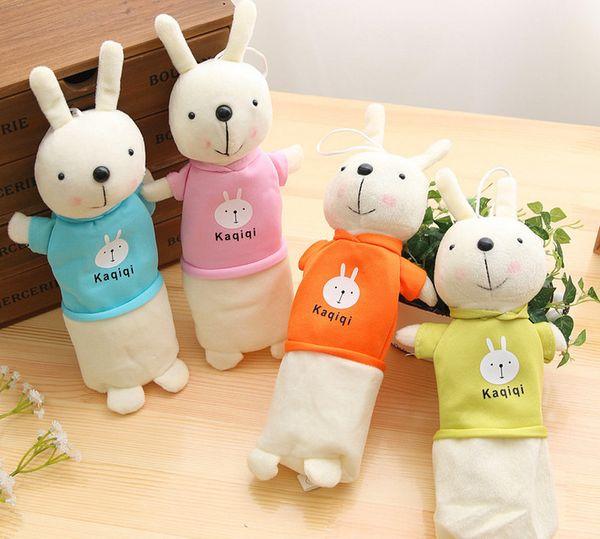 wholesale free shipping pencil case 16pcs\lot Korean version of rabbit pen bag creative pencil stationery children plush toys012