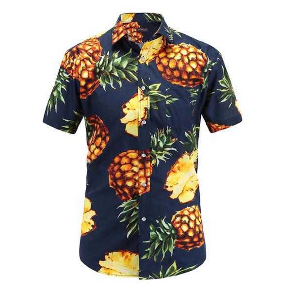 top popular Fashion Regular Fit Mens Cotton Short Sleeve Hawaiian Shirt Summer Casual Floral Shirts Men Plus Size S -3xl Vacation Tops 2019
