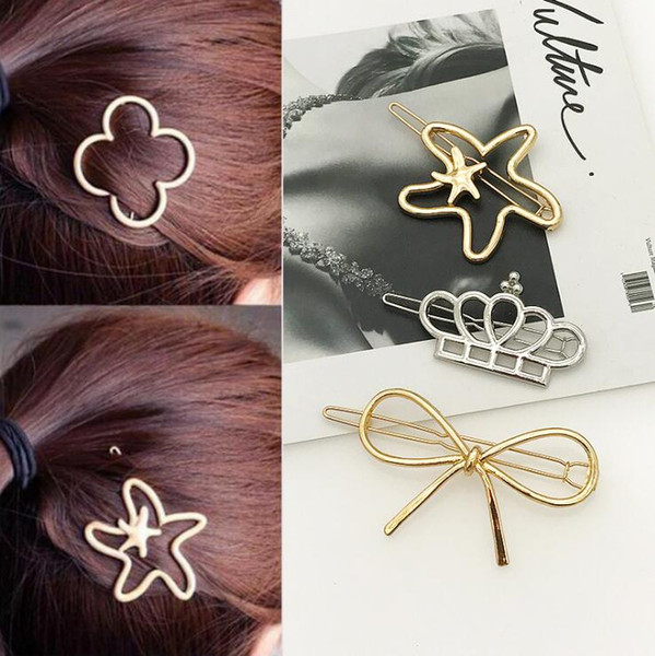 Wholesale New Style 19 choices Moon Lip Circle Triagle Star Shape 2 Colors Hair Clips Hairpins for Women Girls Free Shipping