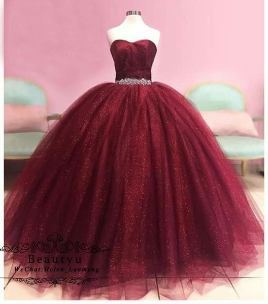Burgundy Sweet 16 Ball Gown Quinceanera Dresses Strapless Corset Crystals Bling Sequined Tulle Plus Size 2018 Prom Dress Sweet 15 Dresses