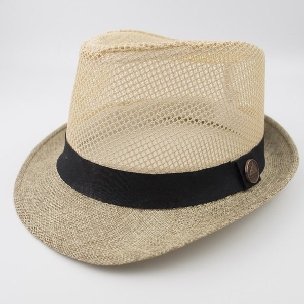EPU-MH1827 Linen Mesh Fabric Stingy Brim Fedora Dad Men Designer Hat Women Ladies Hats for Summer Beach Holiday Classic Jazz Hats