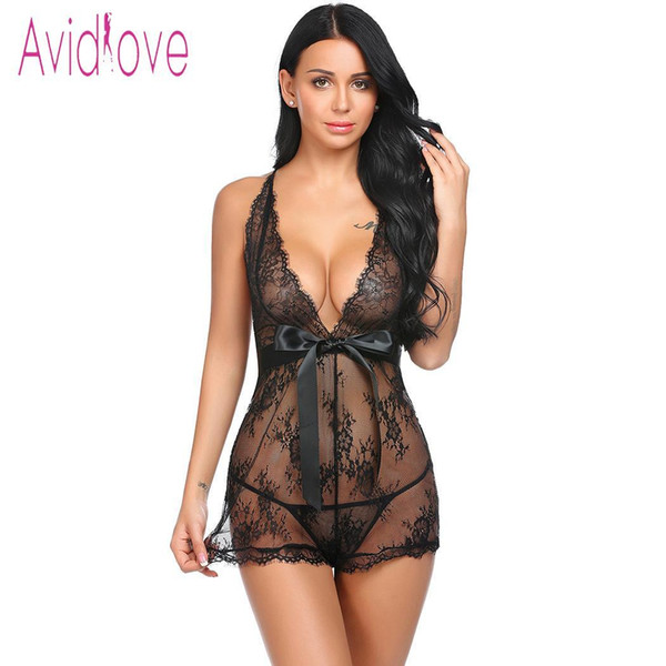 best selling Avidlove Women Babydoll Sexy Lingerie Underwear Pajamas Lace Patchwork Spaghetti Strap Chemise G-string Sexy Costumes Y18101601