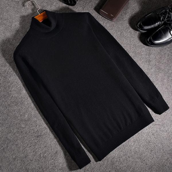 2018 Winter High Neck Warm Pullover Männer Rollkragen Marke Herren Pullover Slim Fit Pullover Männer Strickwaren Männlich Doppelkragen