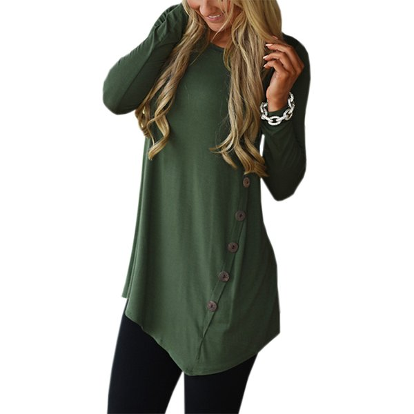 once 3.28 Female Irregular Blouses Tunic Shirt Winter Women Long Sleeve Shirts Loose Solid Blusas Top Plus Size