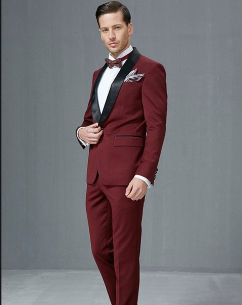 Side Vent Groomsmen Shawl Satin Lapel Groom Tuxedos Burgundy/Wine Men Suits Wedding Best Man (Jacket+Pants+Tie+Hankerchief)