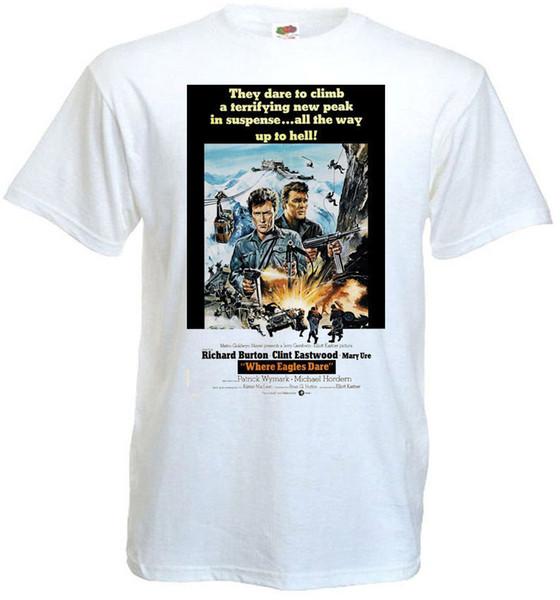 Homens Marca Clothihng Top Quality Moda Mens Camiseta 100% Algodão Onde Eagles Dare v2 T-shirt branco Movie Poster todos os tamanhos S ... 3XL
