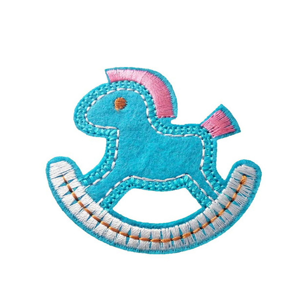 Embroidered cloth patch 6cm * 5.5cm Rocking horse appliques Back gum Iron sewing decorative patch Kids T-shirt jeans accessories DL_CPIA027