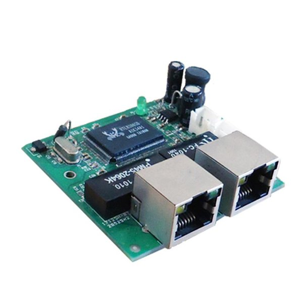 OEM mini fast 10/100mbps 2 port ethernet network lan hub switch board two layer pcb 2 rj45 1*8pin head port