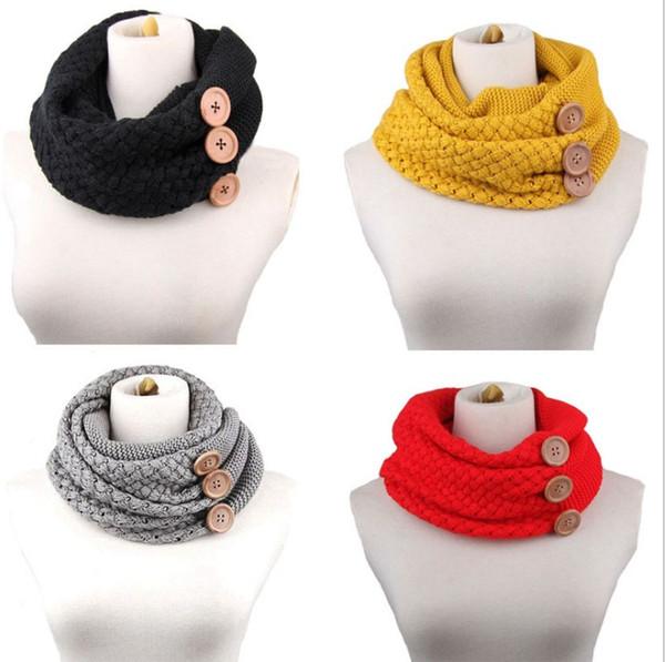 5 Farben Winter Warm Knit Infinity Schal Luxus Frauen Einfarbig Häkelanleitung Basic Chunky Big Button Knit Snood Ring Schal