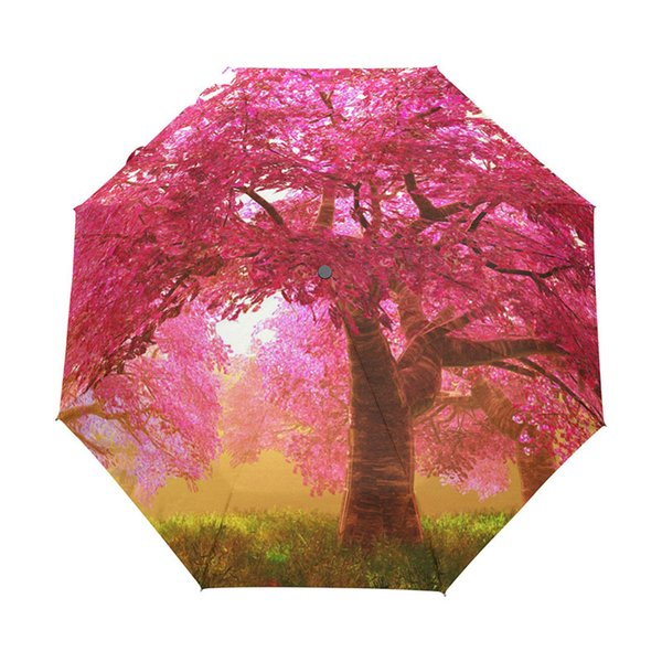 Cherry Blossoms Tree Automatic Three Folding Umbrella Rain Women Black Coating Anti-uv Umbrellas Rain Tools Sun Parasol