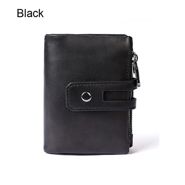Wholesale New Fashion Men Young People Genuine Leather Designer Purses Black Brown Leather Wallet with Free Shipping 7109