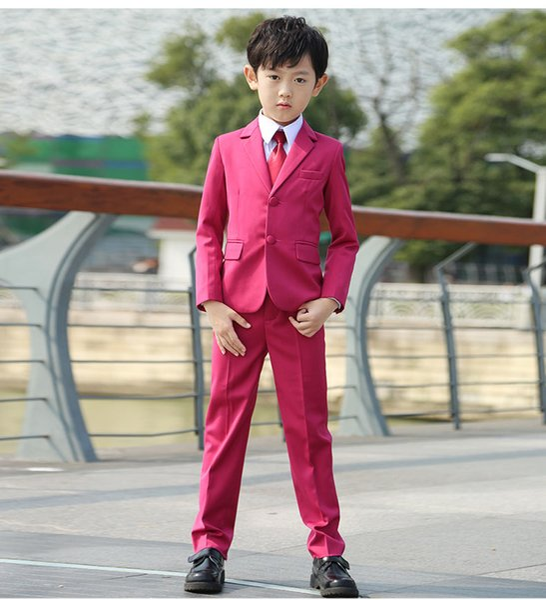 Modern Boys Colour Fuchsia Tuxedos Children's Suit Korean Three-Piece (Jackets+Pant+Vest ) Wddding Party Suit Two Buttons Flower Boy Clothes