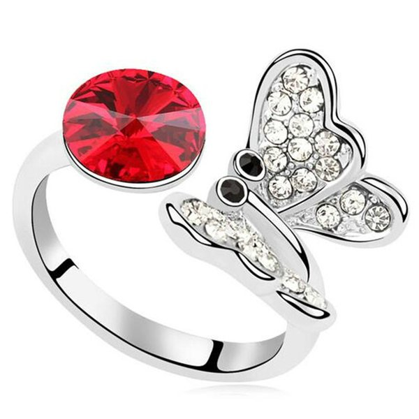Butterfly Jewelry Crystal from Swarovski Elements Charm Designer Jewelry Finger Rings For Women Stylish Accessories 9454