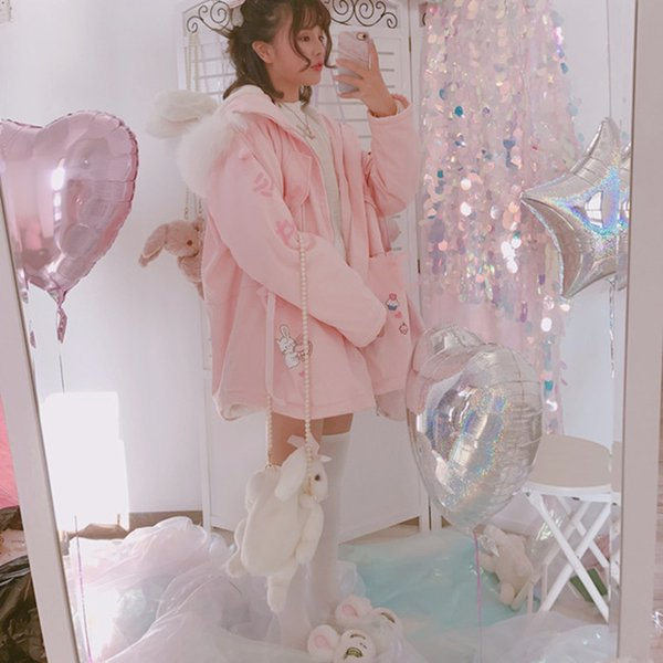 2017 Winter new Women Sweet Harajuku Coat Pink Bunny Rabbit Print Cartoon Jackets Kawaii Cute Young Girl Zip Outfit with Hooded S18101505