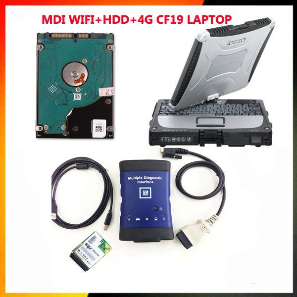 Scanner automatique GM MDI wifi hdd et ordinateur portable CF19 avec interface de diagnostic mdi de l'interface diagnostique de 500g hdd avec le scanner multilingue de mm de mdi