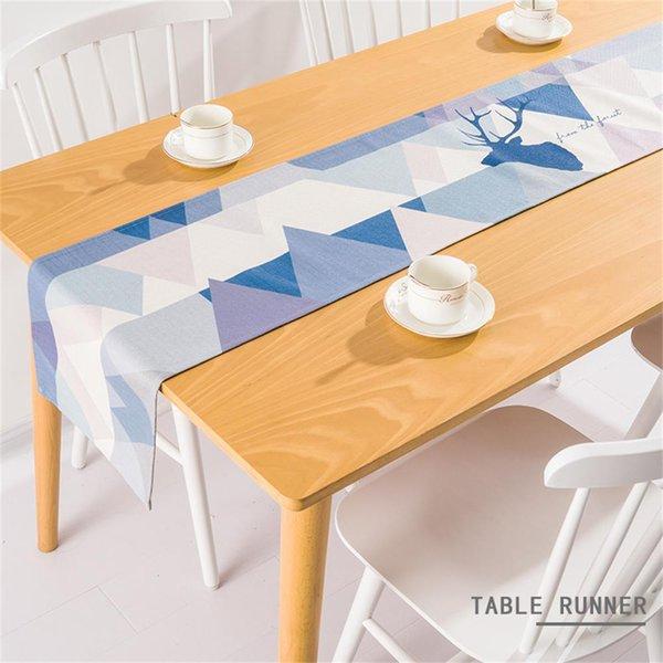 European Jute Table Runner Modern Linen Coffee Runner Dinning Cloth Geometric Deer Home Decorazione della festa nuziale