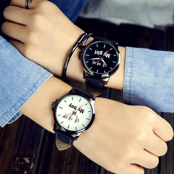 New Pattern Schoolboy Wrist Watch Korean Concise Leatherwear Confidante Yes Surface Male Expression Companion A Pair Small Fresh Woman Surfa
