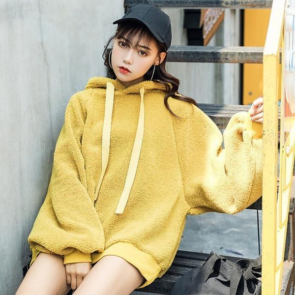 Fashion Female Hooded Loose Tops Autumn Winter Lantern Sleeve Warm Sweatshirts Women Lambswool Solid Hoodies