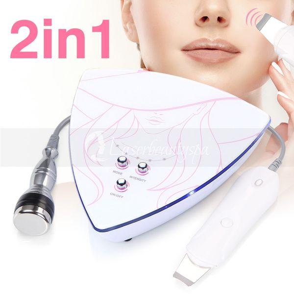 Mais novo Portátil 2 Em 1 ultra-sônica e purificador de pele Cuidados de Beleza Máquina de beleza máquina de cuidados pessoais
