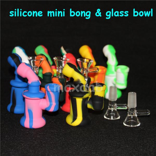 Tubos de agua Bong de silicona Plataformas de aceite de silicona Burbuja mini Bong Cachimbas Recipiente de néctar de vidrio colector de néctar herramientas dabber 5ml recipiente de silicona