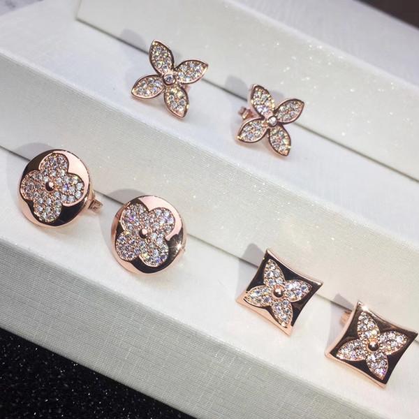 2018 Nouvelle arrivée en laiton matériel marque amour stud avec tout le diamant dans 1.2 * 1.2cm rond carré pour les femmes boucle d'oreille bijoux livraison shippi
