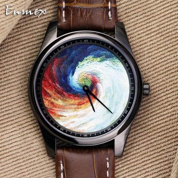 Enmex Individualization design wristwatch 3D vortex whirlpool creative design Oil Painting fashion quartz clock watch