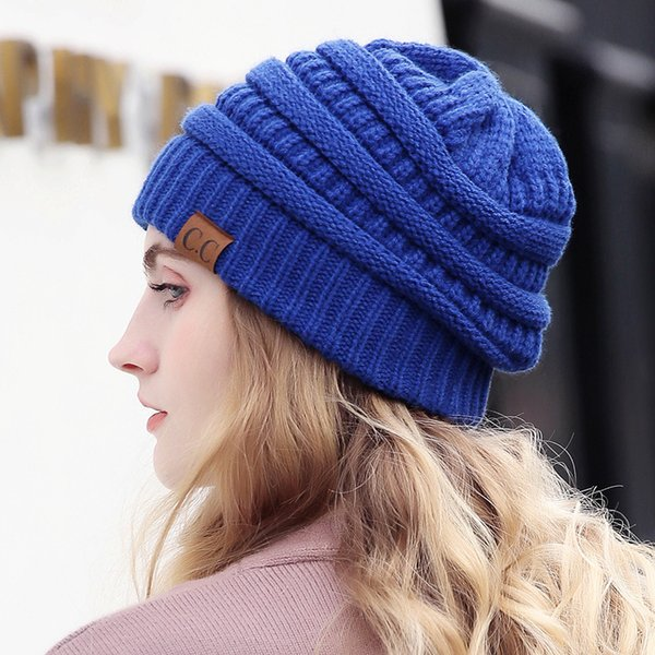 6af0c1269e579f Drop Shipping CC Beanie Women Cap Hat Skully Trendy Warm Chunky Soft  Stretch Cable Knit Slouchy