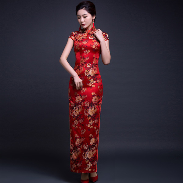Happiness, spring and summer, new style, retro improvement, slim body, cheongsam, dress, banquet, Chinese style dress.