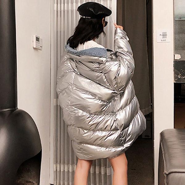 Großhandel 2018 Silber Glänzende Denim Stitching Winter Daunenjacke Frauen Oversize Lange Jacke Lässige Baumwolle Mantel Mode Warm Overcoat 1 Von