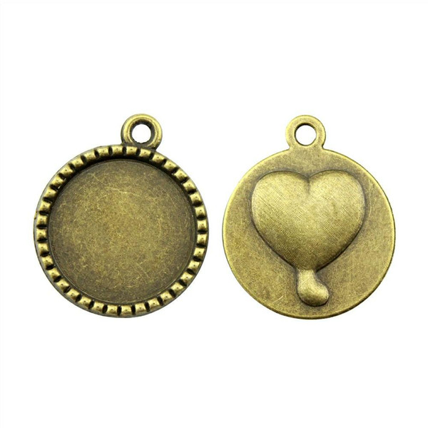 24 pieces cabochon cameo base tray bezel blank accessories parts heart background single side inner size 18mm round necklace pendant setting