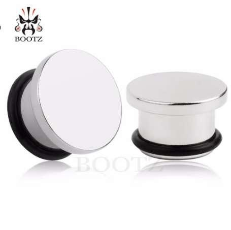 fashion pair simple stainless steel ear plugs small size ear tunnels with o-ring design piercing body jewelry retail
