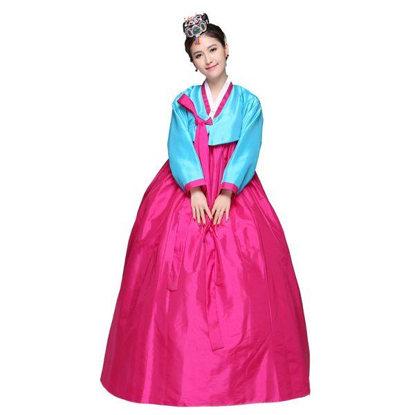2018 summer Korean Yukata Traditional Women Cotton Dress Embroider Female Three Quarter Ancient Clothes Luxury Hanbok