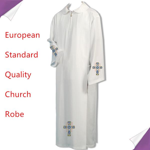 BLESSUME Католическое белое облачение Альб Одеяние твердой одеяния Духовенство облачения Католический священник Cassock Chasuble Cope Robe cattolico