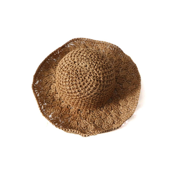 New Hot child Panama hand hook pineapple visor beach hat hand folding straw hat outdoor sun