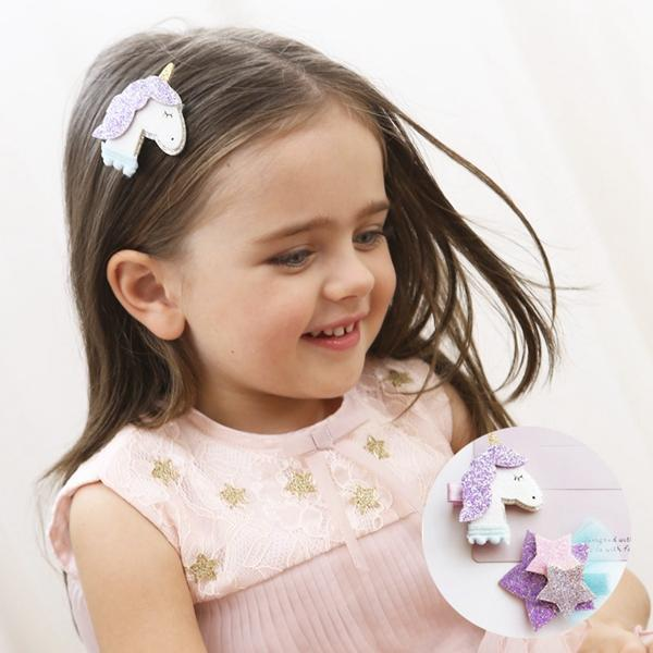 Nuovo stile Glitter Unicorn Stars Hairclips Cartoon Animal Hair Clip Cute Stereo Forcine Kids Headwear Accessori per capelli per le ragazze