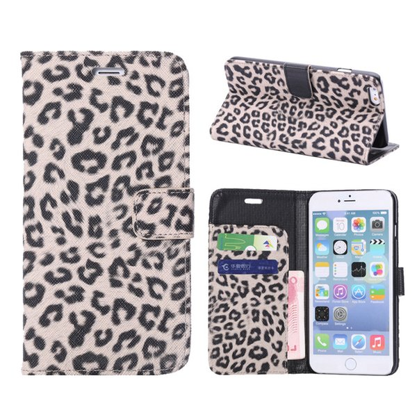 Sexy leopard print Leather Case For iPhone 6 Plus 6S Plus Wallet Flip stand Cover carcasas With Card Slot Mobile Phone Bags